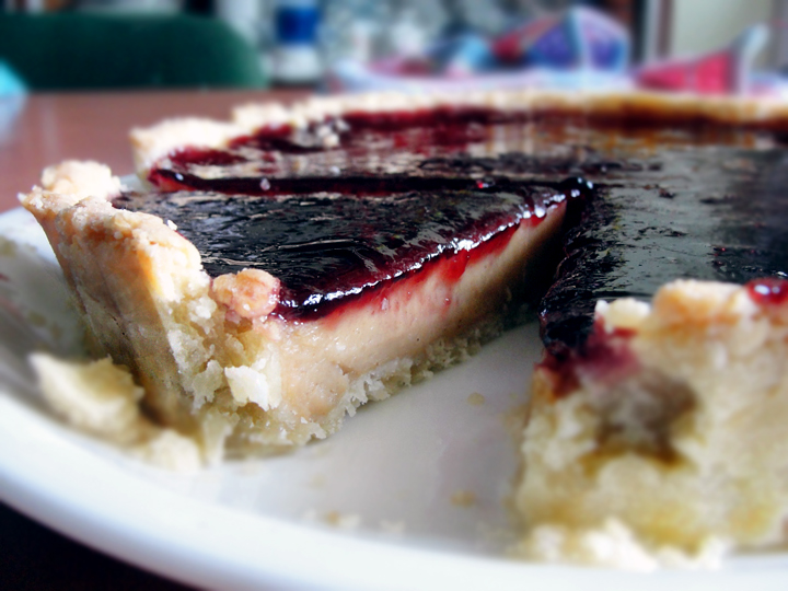 Peanut Butter Milk Tart with Blueberry Jam Glaze