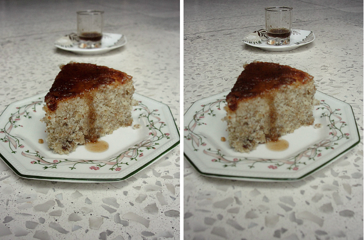 walnut cake with tamarind sauce