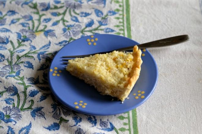 saffron and coconut macaroon tart