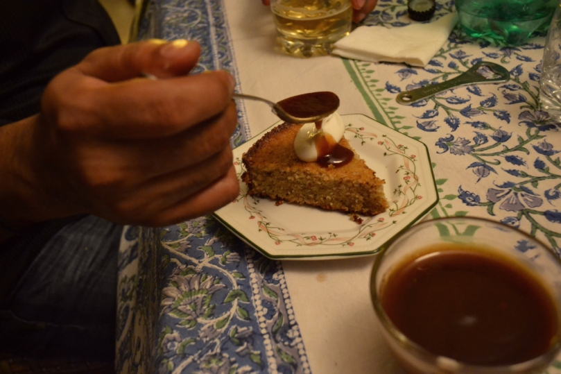 Walnut Cake with Tamarind Sauce & Whipped Cream