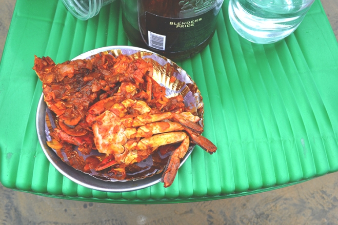 Soft-shell crabs in tomato sauce
